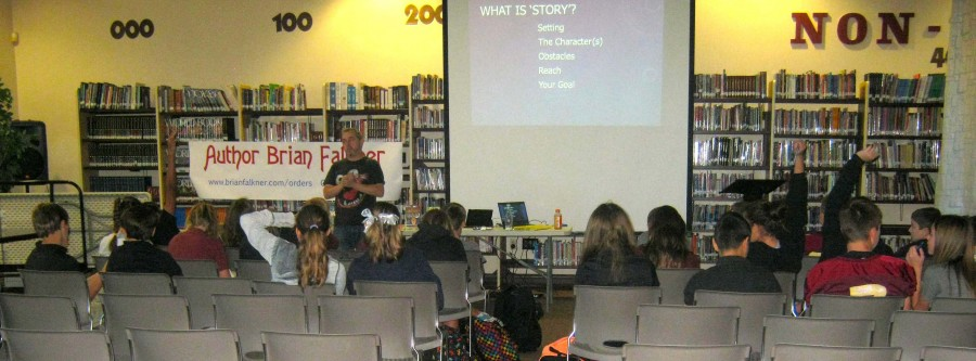 Author Brian Falkner teaching students new writing techniques. He is also showing the students ideas on writing a good story.
