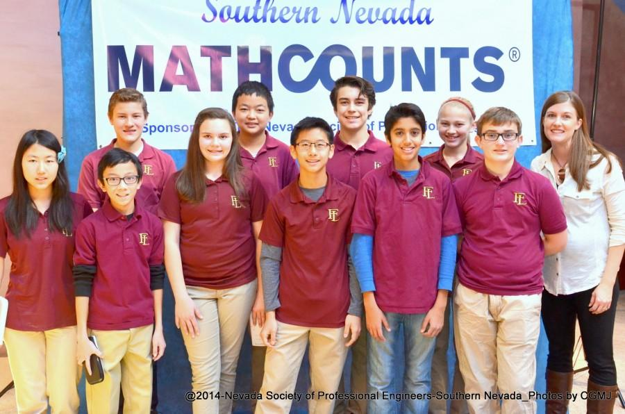 The mathletes pose for a picture at the Southern Nevada Mathcounts competiton. The returning students wait anxiously for a new coach so they can get back to learning and may recieve a higher rank in the next competition.