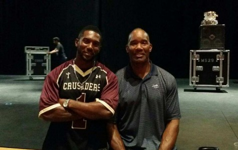 Coach Vernon Fox and Charles Mann smiling for the camera happy at the Chapel Performing Arts Center. (AKA the CPAC).