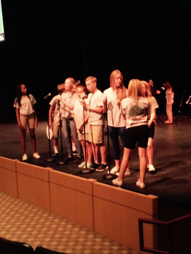 Students+Kendal+Owens%2C+Kayla+Parker%2C+Katie+Walo%2C++Tom+Rigglemen%2C+and+more+rehearse+for+their+chapel+on+Wednesday.+They+practice+so+they+can+show+God%E2%80%99s+word+in+an+interesting+way.