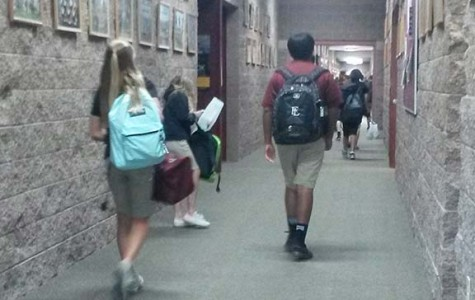 Students walk out of class without any traffic. since the schedule has changed, the halls have not been crowded with both middle and high schools in the hall at once.