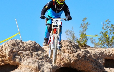 Trenton May riding his mountain bike.  This is to show what will be happening in the club when they compete.