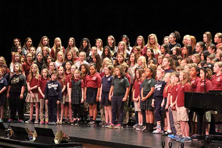 Choir students from all of the schools are singing a song together at last year's Lutheran Fine Arts festival. Choir students from all of the schools that participated in this year's festival gathered to sing together this year as well.