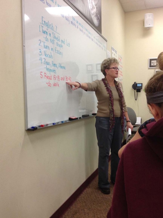 Miss Joanne Krafft teaches her Advanced Seventh Grade English Class. She explains the homework to her students so they will successfully complete it.