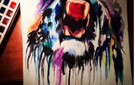 High school Sarah Paglini made this watercolor painting of a lion to audition for the visual arts. She also had to make an art portfolio for the audition.