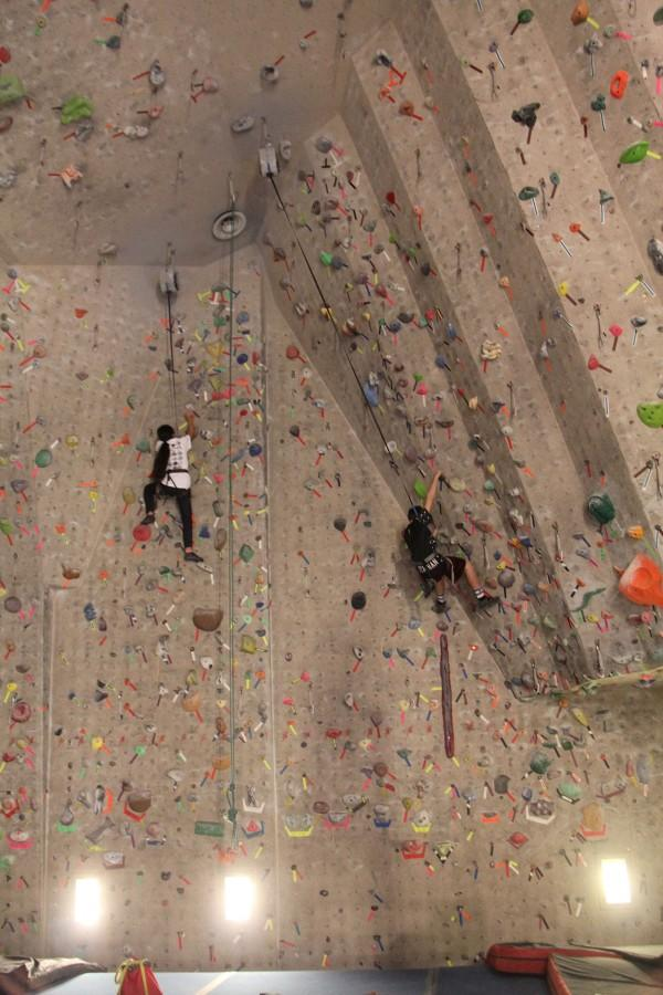 This shows two kids climbing at the Red Rock Climbing Center. This photo was taken last year during a club day.