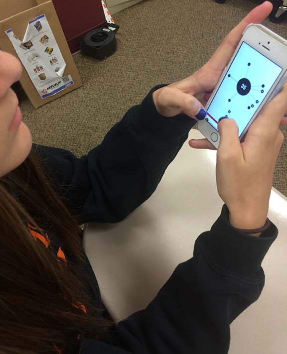 "Seventh grader Grace Parker playing ""aa"". Many students play this game to reach new levels and have a challenge."