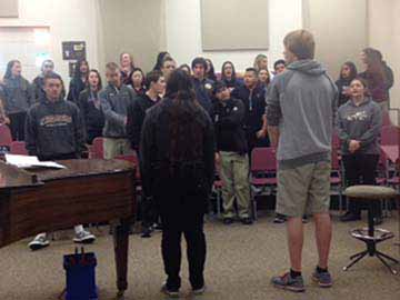 "High School Vocal Ensemble students rehearse their song for the Expanding the Arts event. Students from all five areas of the Arts will participate in the event's performance ""Suddenly Sondheim""."