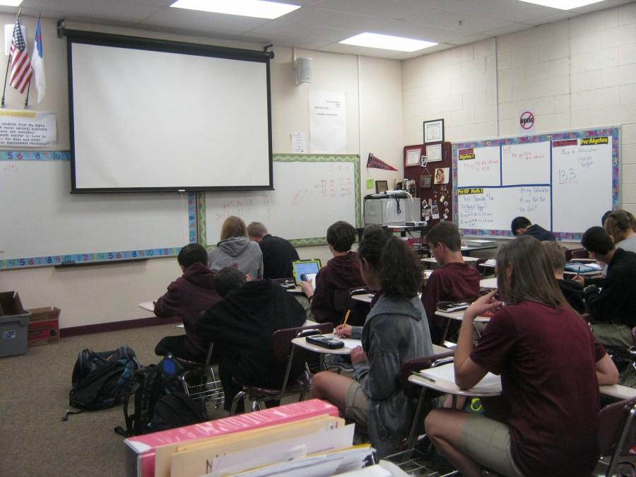 Faith Lutheran students posed as participants in the math test in this picture. Students like above participated in the advanced math test on February 28, March 3, and on March 4 concluding the test days that were scheduled.