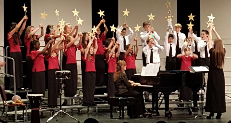 The 6th grade choir singing Catch a Falling Star at the concert.  This performance showed that the choir students have improved since the beginning of the year.