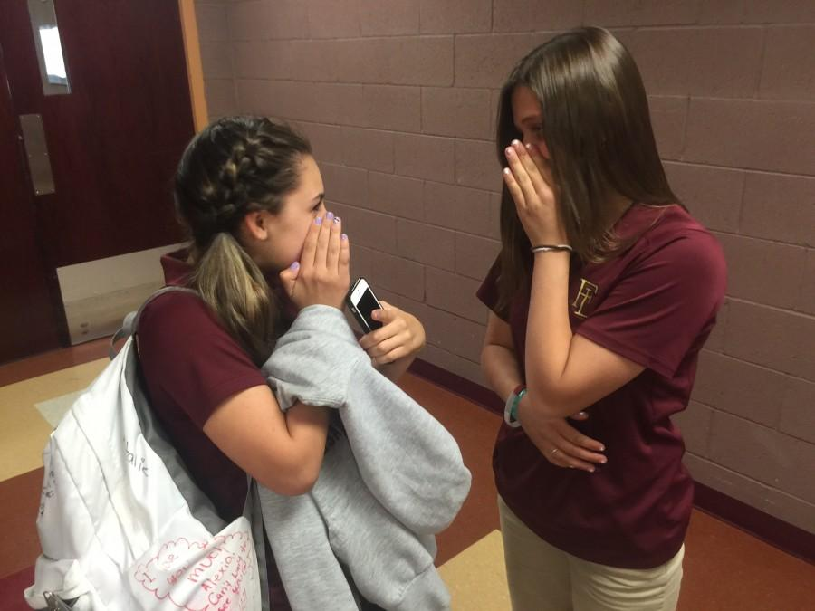Students at Faith Lutheran going about talking like they normally do. Many of the students look like they have normal conversations, when in fact they may start gossiping about other students in the school who do not know.