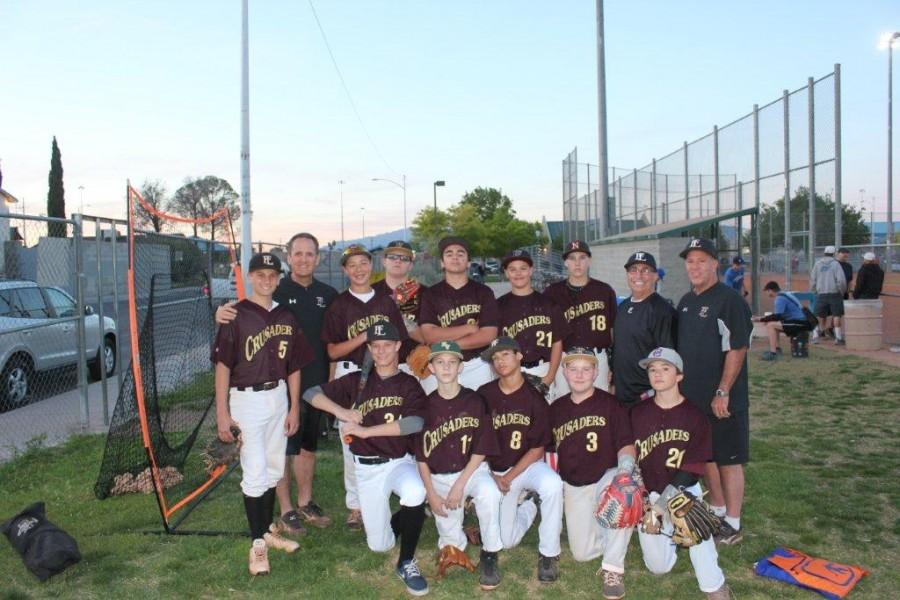 Faith Middle schoo'sl A baseball team posses for the end of the 2015  baseball season. The team ended the season wit a total of nine wins and eight losses coming in eleventh place in the whole league.