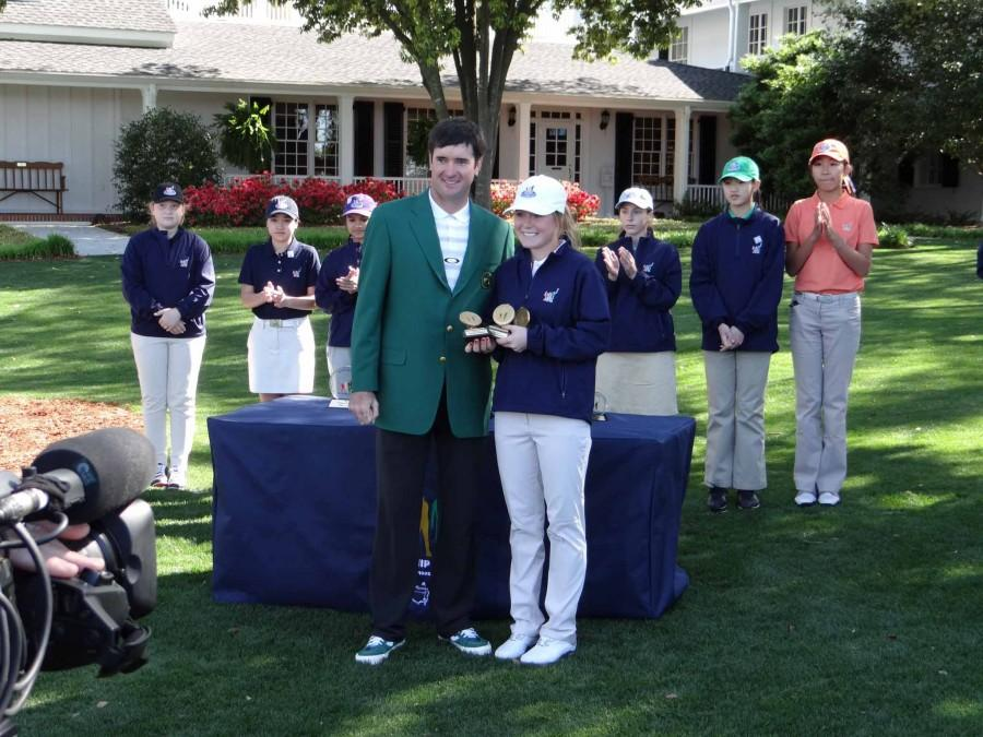 Professional golfer Bubba Watson presents Goldstein with 12-13 girls division trophy. For more information go to www.drivechipandputt.com