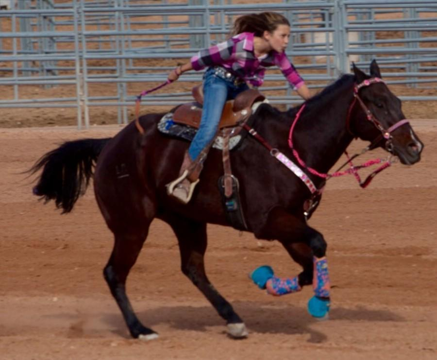 Mackenzie Miller at one of her most recent rodeos. Miller comepetes in all three events, barrel racing, pole bending, and keyhole.