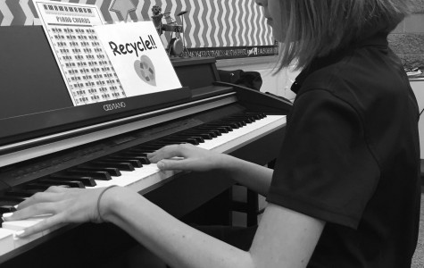 Eighth grader Virgina Wilkerson practices the piano for praise band. Wilkerson might take piano lab next year depending if she makes praise band.