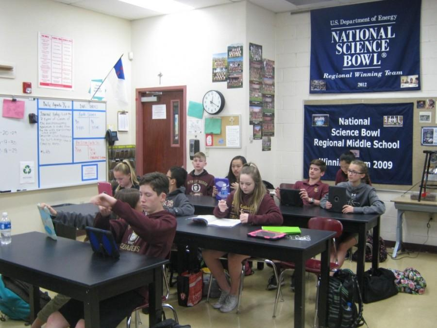 Students in Science class at Faith Lutheran Middle School. Class sizes in the Las Vegas valley grow, making many wonder what the best and ideal class sizes are. Faith Lutheran strives for an average class size of 25-1.