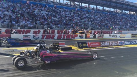 Farnum waits for the starting signal before racing at LVMS. At eight years old, she began to race and continued her family tradition of drag racing.