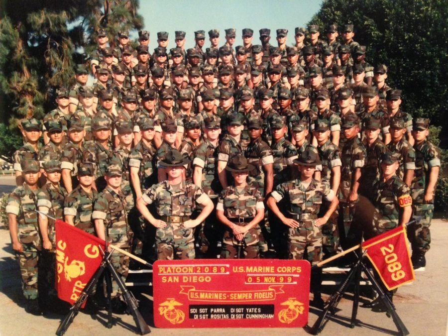 Tyler%27s+dad%2C+%28bottom+right%29+stands+with+his+90+man+platoon.+Most+of+the+men+in+this+picture+have+families+in+the+United+States%2C+including+Tyler%27s+dad