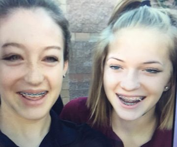 Brittany Moghadam and Hailey Haas take a photo using Snapchat's face swap filter, one of many filters unique to the app. Snapchat calls their filters,