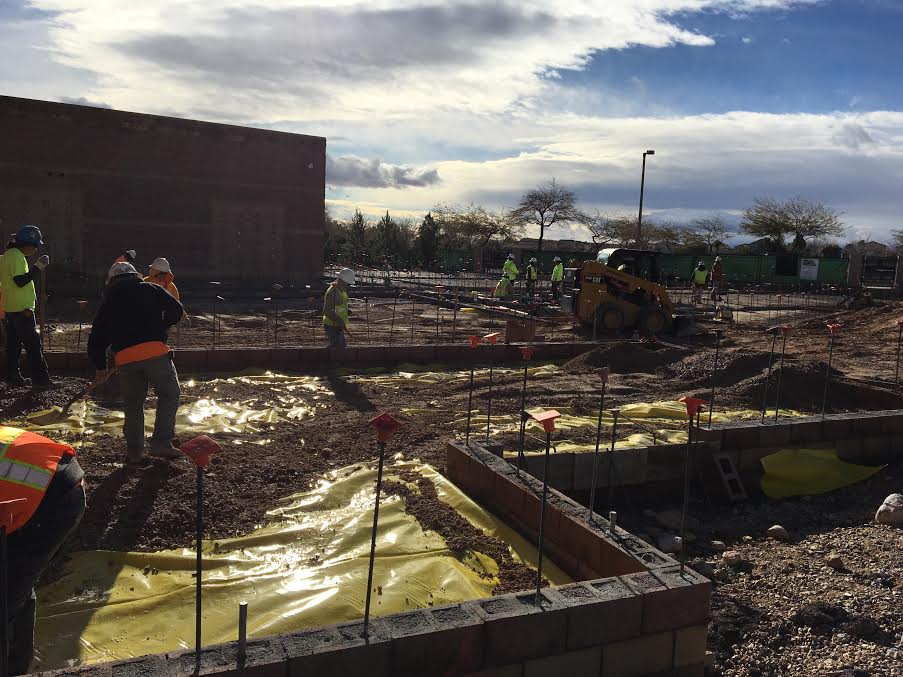 Construction workers perform daily tasks to construct the new classrooms at Faith Lutheran. The classrooms are located just off of Homestretch, next to the locker area.