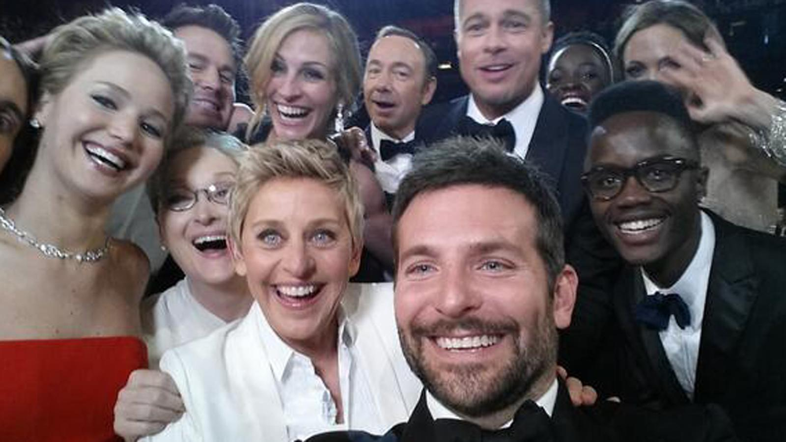 Courtesy of really.uktv.co.uk A group of A-list celebrities gather for a selfie. After this picture was taken at the 2014 Oscar's, Ellen's picture became the most retweeted image ever on twitter, almost breaking the internet.