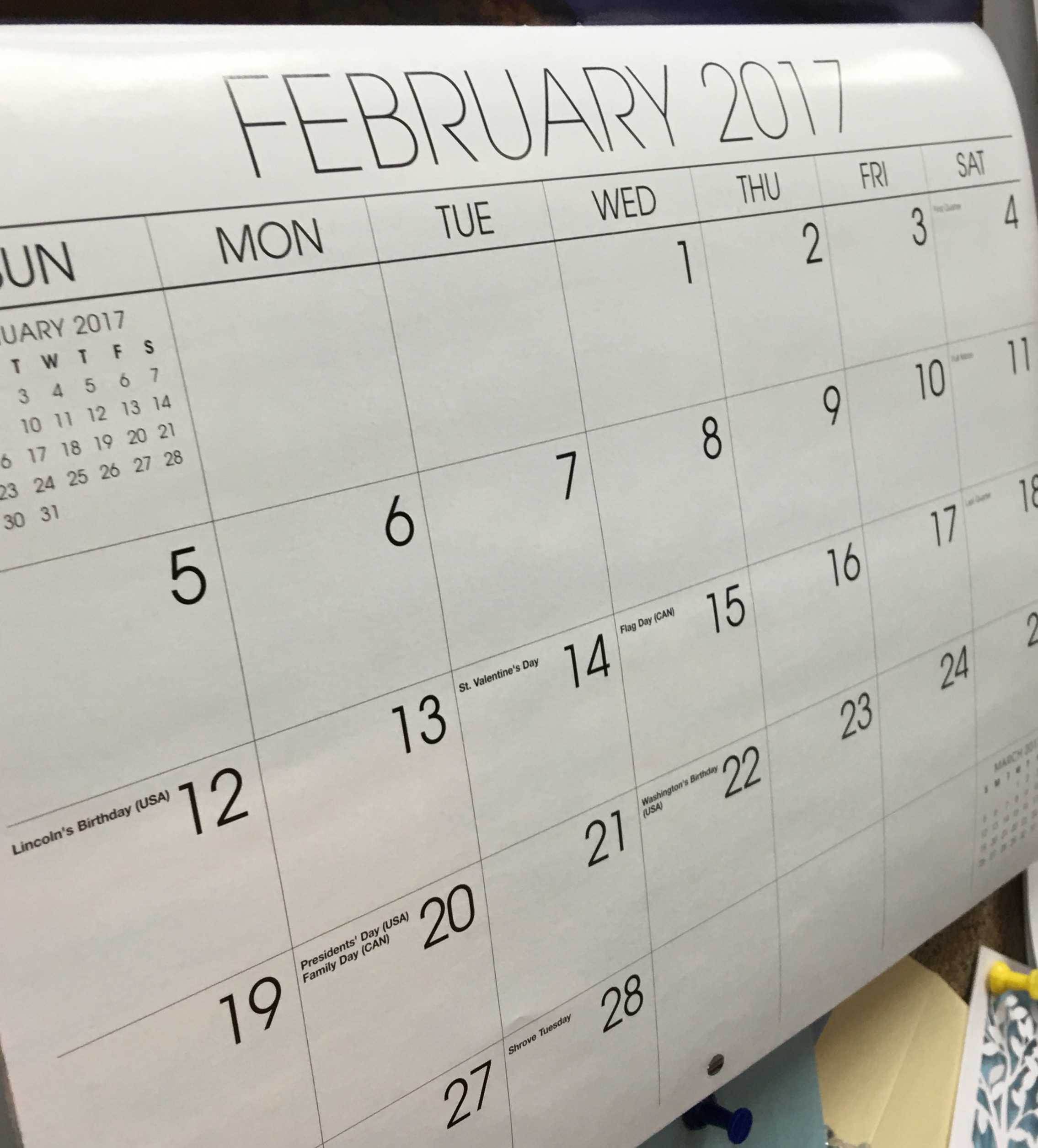 This is a photo of a calendar flipped to the month of February.  This calendar shows the modern day month of February, with 28 days.